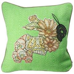 Unique Handmade Bohemian Green Crystal Cushion
