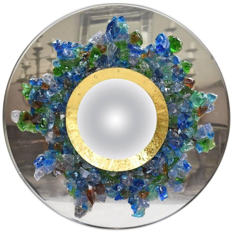French Line Vautrin Style Brass Chrome and Colored Glass Mirror For Sale