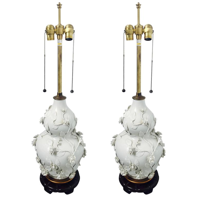 Pair of Blanc de Chine Lamps by Marbro 1
