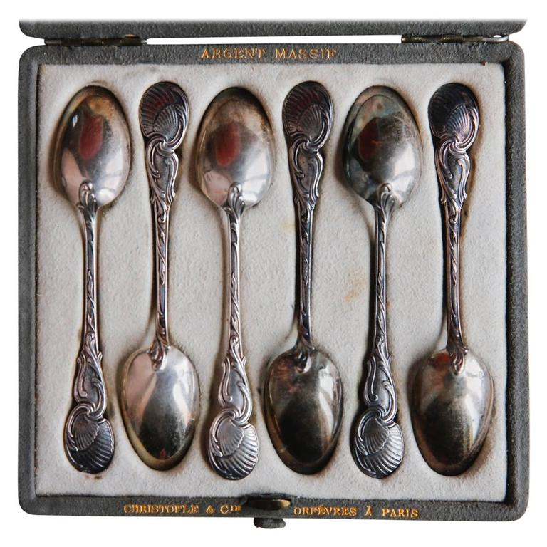 19th Century Christofle et Cie Sterling Silver Dessert Spoons For Sale