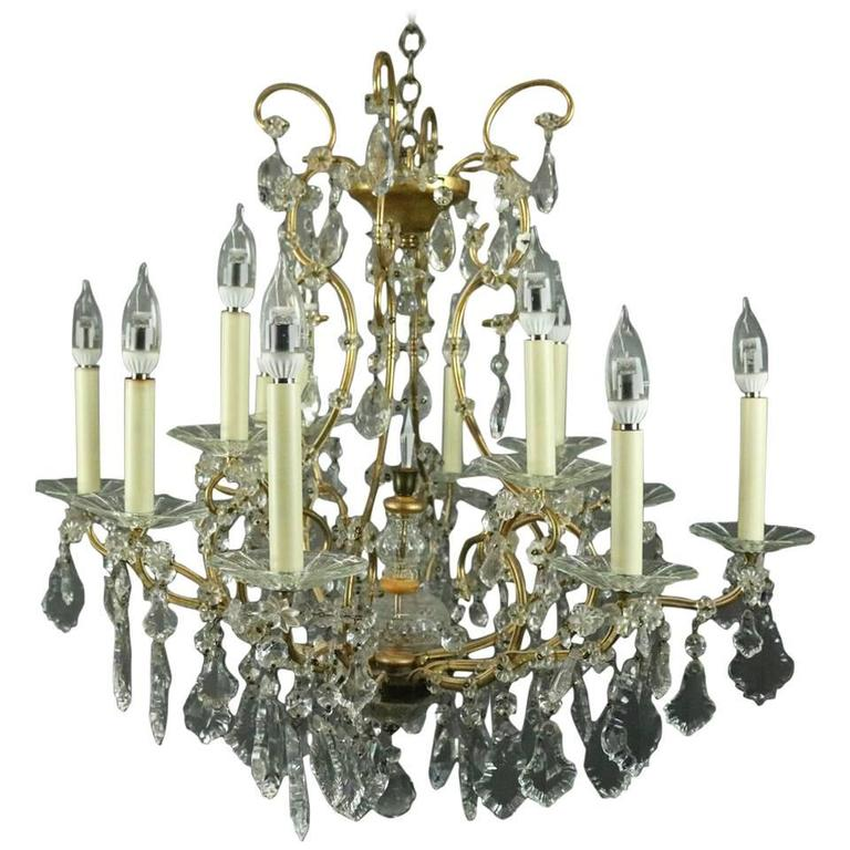 Venetian Bronze Chandelier: Twelve-Light Venetian Style Bronze And Cut Crystal