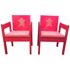Pair of Investiture Chairs, Lord Snowden Vermillion Stained Beech Ply circa 1969