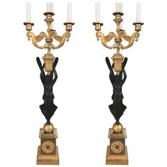 Pair of Large Empire Candelabra