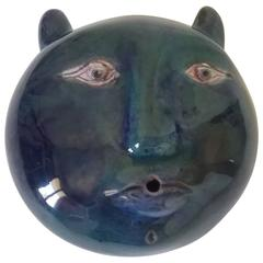Robert et Jean Cloutier Blue Ceramic Sculpture Cat's Head, Signed, circa 1960