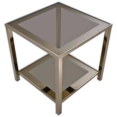 Gold-Plated Side Table with Shelf, 23-Karat by Belgo Chrome, 1980s, Belgian