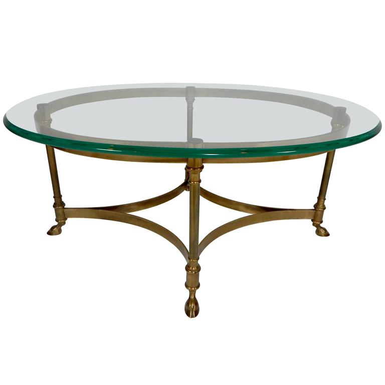 Mid Century Weiman Brass And Glass Coffee Table For Sale