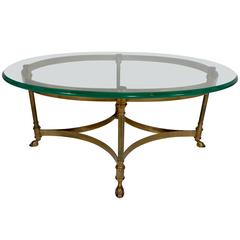 Mid-Century Weiman Brass and Glass Oval Coffee Table