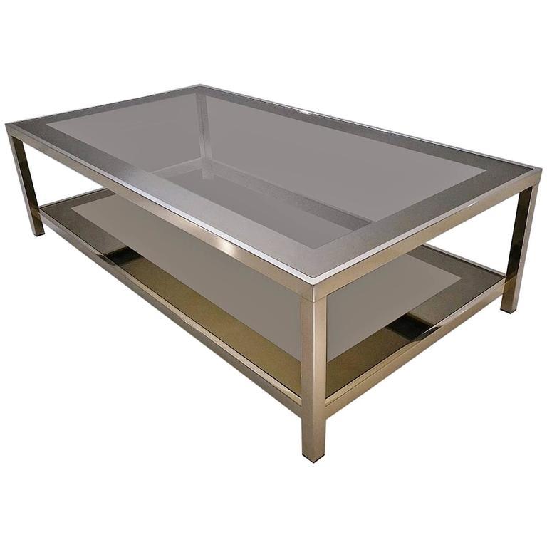 Gold Plated Coffee Table: Gold-Plated Coffee Table With Shelf, 23-Karat Belgo Chrome