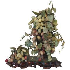 Chinese Jade and Hardstone Grape Cluster Arrangement, circa 1935-1940
