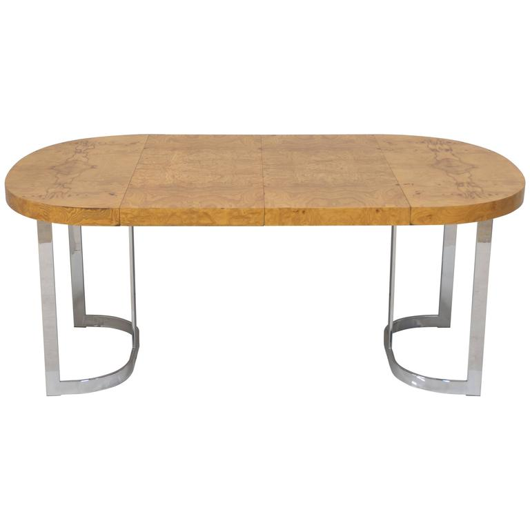 Milo Baughman Burl and Chrome Extension Dining Table or Desk