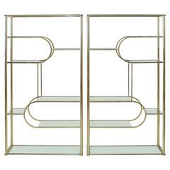 Pair of Geometric Design Institute of America Brass Etageres DIA