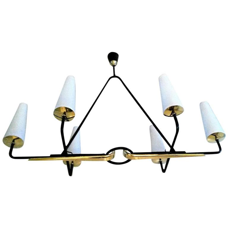 Gorgeous French Mid-Century Modern Lunel Chandelier, Large Size