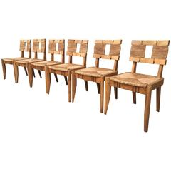 Guillerme et Chambon Very Rarest Set of 6 Oak and Rush Chairs Fully Restored