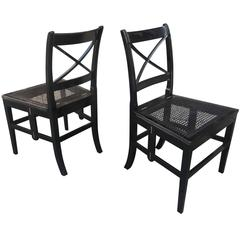 Style of J. M. Frank Extraordinary Foldable Pair of Black Lacquered Caned Chairs