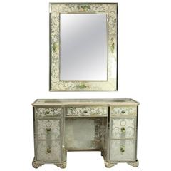 Vintage Mirrored Venetian Style Dressing Table and Mirror, Floral and Acanthus