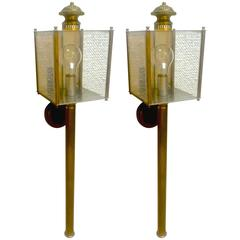 Maison Jansen Long Chicest Pair of 1950s Lantern Sconces in Vintage Condition