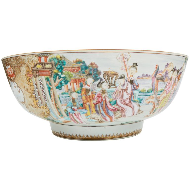 Large 18th Century Chinese Export Punch Bowl For Sale