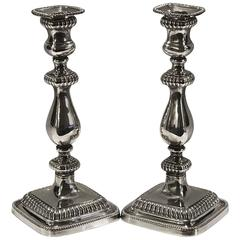 Pair of Handsome Sterling Georgian Style Candlesticks by Gorham