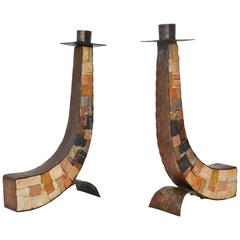 Pair of Midcentury Brutalist Hammered Copper and Cut Stone Candlesticks