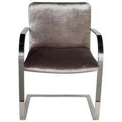 Mid-Century Chrome and Velvet Desk Chair by Brueton