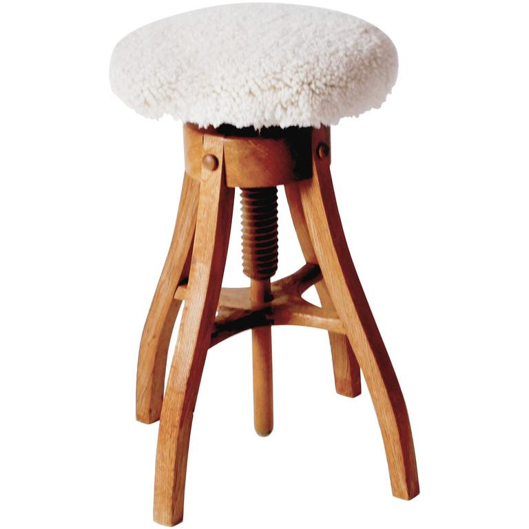 Oak and Shearling Adjustable Work Stool by Fritz Hansen 1  sc 1 st  1stDibs & Oak and Shearling Adjustable Work Stool by Fritz Hansen For Sale ... islam-shia.org