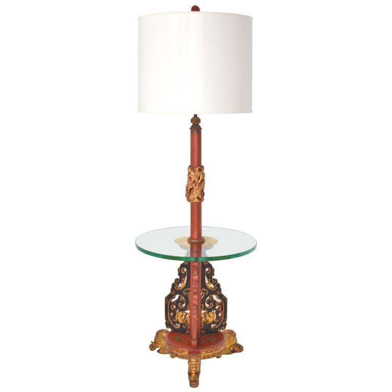 Hollywood regency asian carved wood floor lamp for sale at for Oriental wood floor lamp