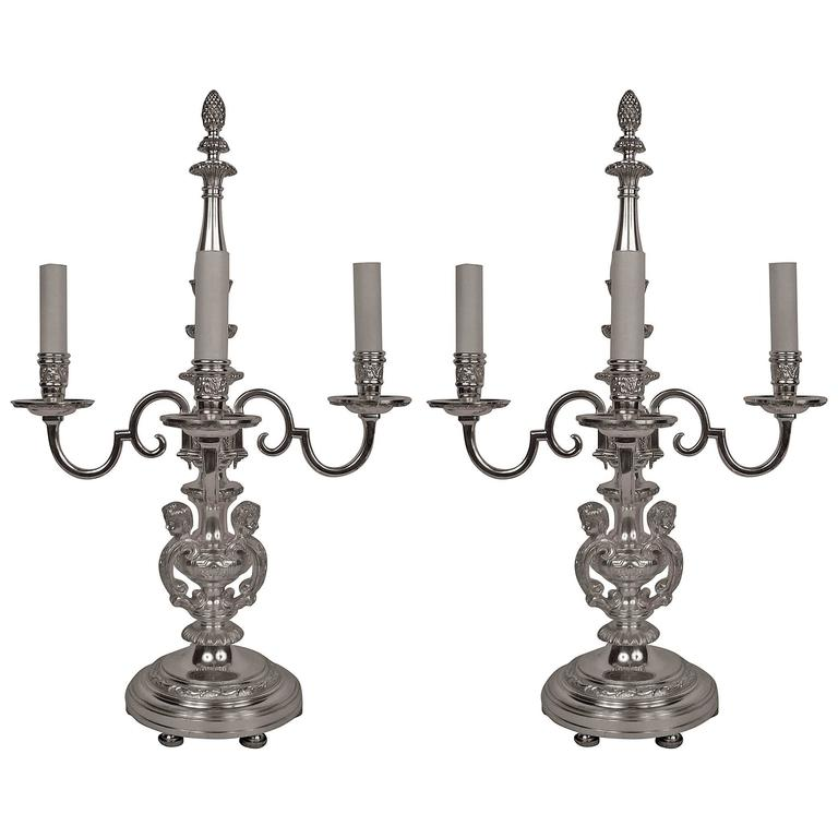 Pair of E. F. Caldwell Silvered Bronze Candelabra Form Lamps