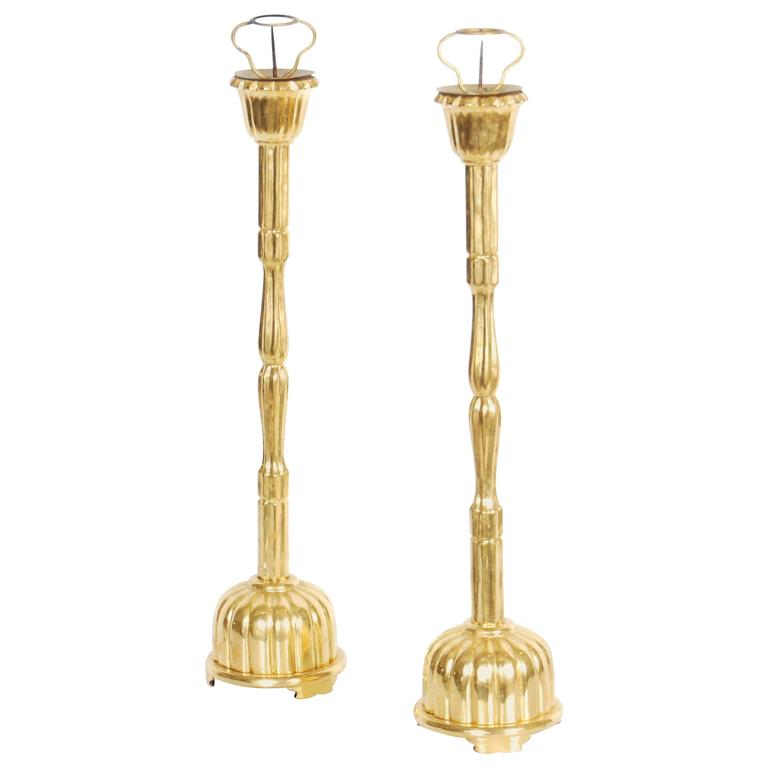 Japanese Gilt Lacquer Buddhist Candle Stands, Meiji Period, Early 20th Century