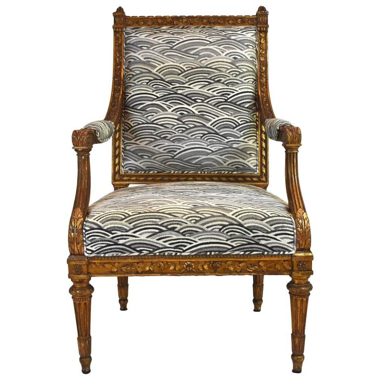 19th Century French Louis XVI Style Gilt Wood Fauteuil at 1stdibs