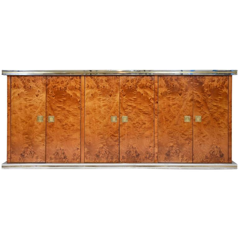 Italian Burl Elm Credenza by Willy Rizzo