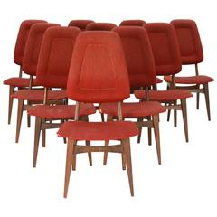 Up to 10 Sorheim Bruk High Back Dining Chairs with Walnut Frames 1960