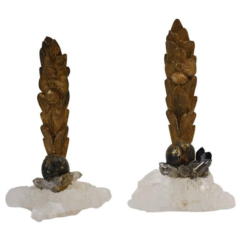 Pair of 18th Century Quartz Giltwood Fragments For Sale