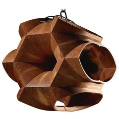 Geometric Wood Chandelier with Cathedral Arches, Solid Wood by Eddy Sykes