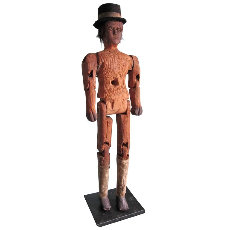 Articulated Folk Art Figure with Top Hat