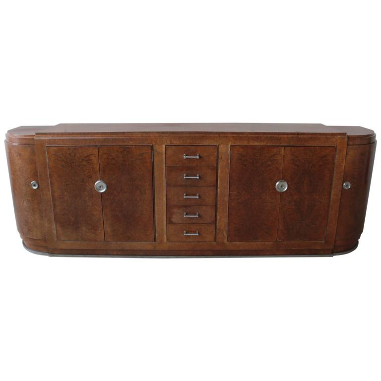Fine French Art Deco Burl Walnut Sideboard by Jules Leleu (documented)