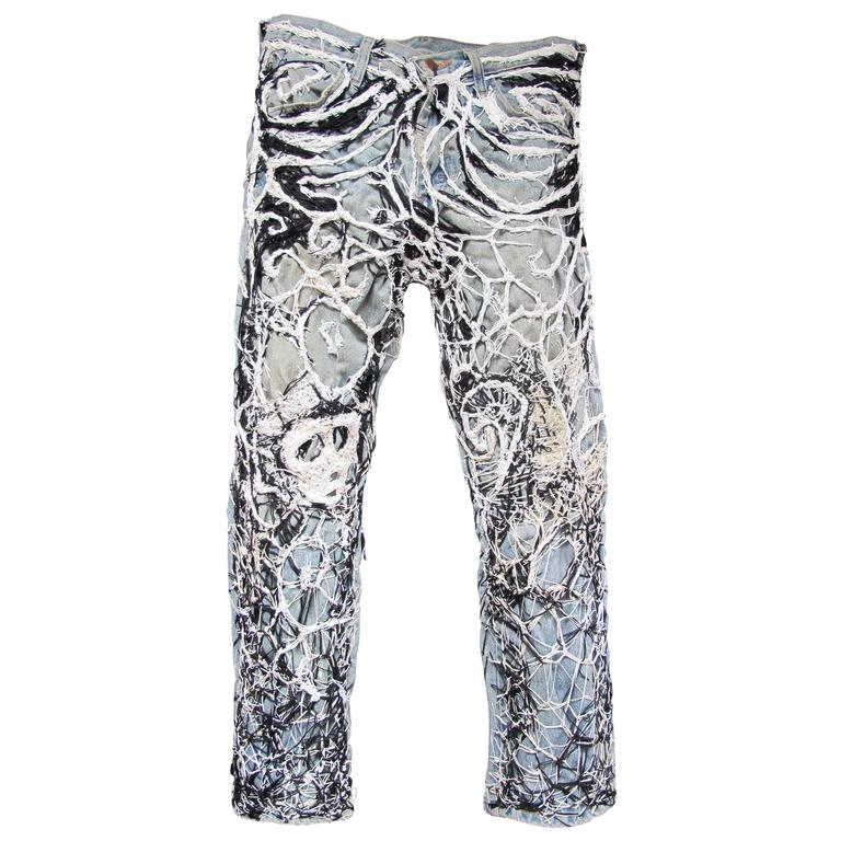 Untitled Blue Jeans Obsessively Stitched by Robert Adale Davis as Textile Art