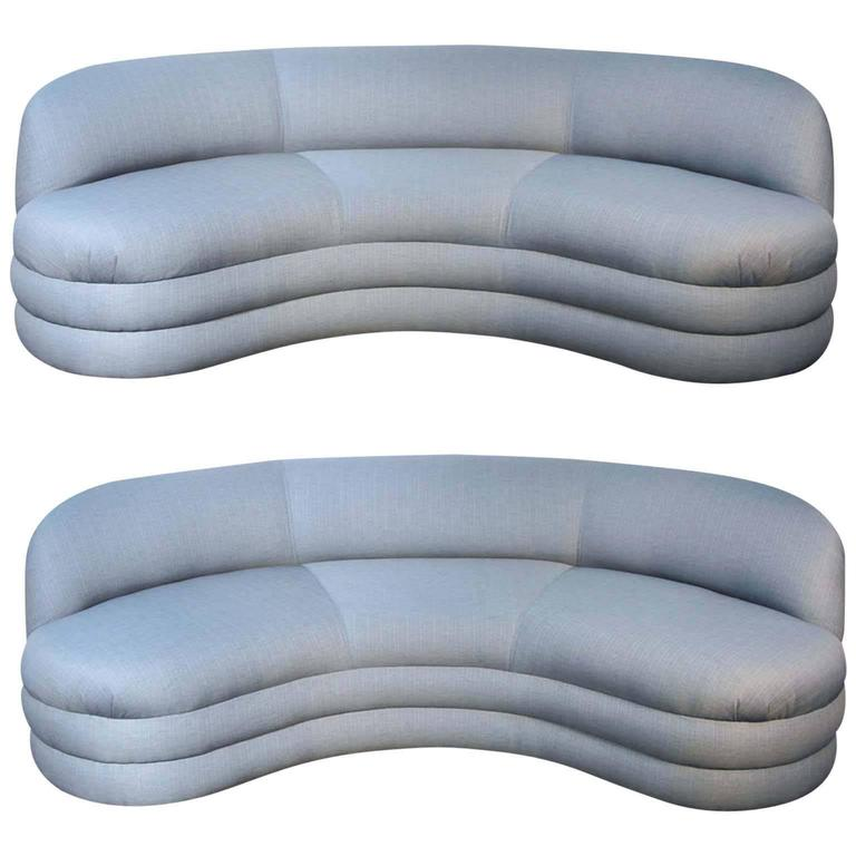 Pair of Vladimir Kagan for Directional Sofas Newly Upholstered