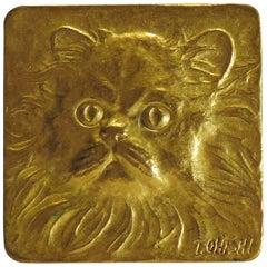 Gilt Bronze Cast Relief of a Cat, 1960