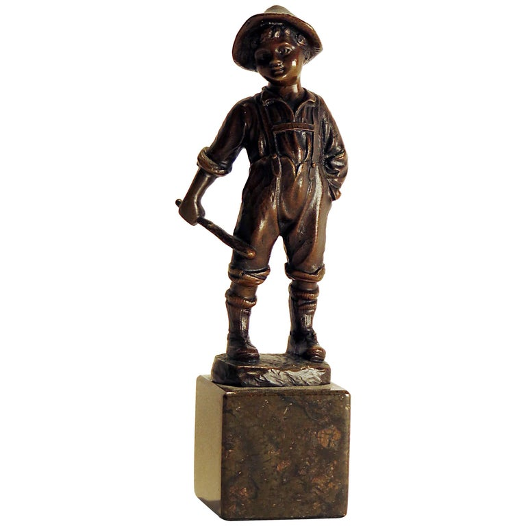 Victorian Bronze Casting of a Young Boy on Marble Base US, circa 1870