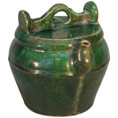 Chinese Emerald Green Shiwan Pottery Teapot, Chinese, Qing Dynasty