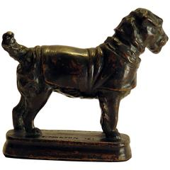 Bronze Dog in Coat Signed E. Norton 1921 Arts and Crafts