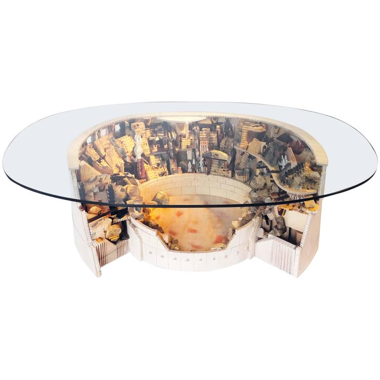 Colosseum Mix Wood Round Glass Top Coffee Table/Cocktail Table By Po Shun  Leong For