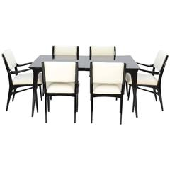 John Van Koert Profile Dining Set for Drexel in Black Lacquer