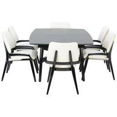 John Keal Ebonized Model 4058 Dining Table and Chairs for Brown Saltman