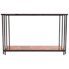Maison Jansen black metal two tier Console Table