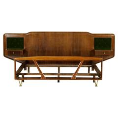 Double Bed with Hanging Nightstands Rosewood Veneer Velvet Glass Brass, 1950s