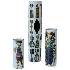 Set of Karneval Faience Vases by Stig Lindberg for Gustavsberg