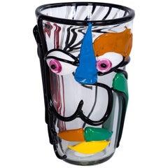 Italian Vase in Murano Glass Multi-Color Picasso Style Cenedese 1970s