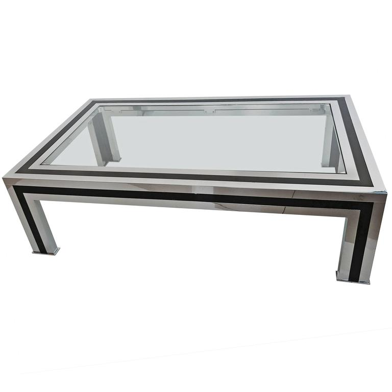 1970s Black Lacquered And Chrome Coffee Table By Romeo Rega Italy For Sale At 1stdibs