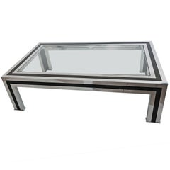 1970s Black Lacquered and Chrome Coffee Table by Romeo Rega, Italy